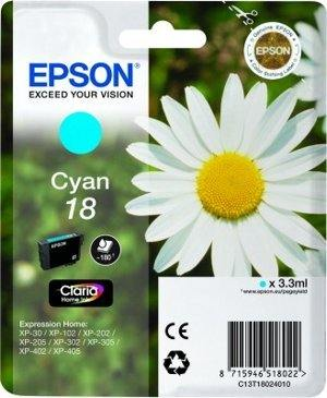 Epson Tusz T1802 Błękitny 3.3ml do XP-30/102/20x/30x/40x