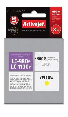 Tusz Activejet AB-1100YNX (Brother LC1100Y/980Y) supreme XL 19.5ml yellow