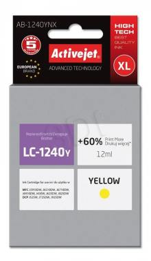 Tusz Activejet AB-1240YNX (Brother LC1240Y/1220Y) supreme XL 12ml yellow