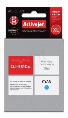 Tusz Activejet ACC-551CN (Canon CLI-551C) supreme XL 15ml cyan Chip