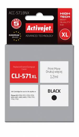 Tusz Activejet ACC-571BNX (Canon CLI-571Bk XL) supreme 12ml czarny Chip