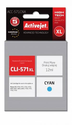 Tusz Activejet ACC-571CNX (Canon CLI-571C XL) supreme 12ml cyan Chip