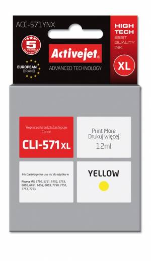Tusz Activejet ACC-571YNX (Canon CLI-571Y XL) supreme 12ml yellow Chip