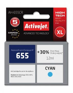 Tusz Activejet AH-655CR (HP 655 CZ110AE) premium XL 12ml cyan Chip