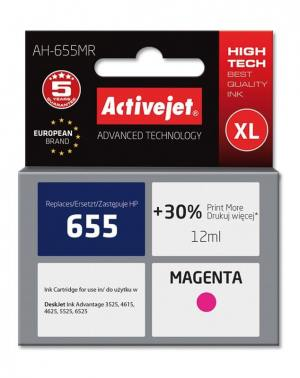 Tusz Activejet AH-655MR (HP 655 CZ111AE) premium XL 12ml magenta Chip
