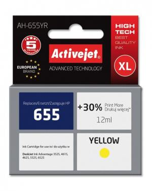 Tusz Activejet AH-655YR (HP 655 CZ112AE) premium XL 12ml yellow Chip
