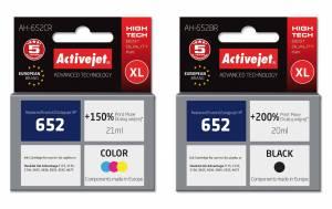 Zestaw tuszów XL Activejet HP 652 - czarny 20ml + kolor 21ml