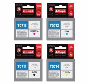 Zestaw Activejet do Epson T0711-T0714 - 4 tusze CMYK XL
