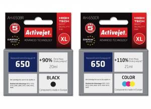 Zestaw Activejet do HP 650 czarny i kolor - 2 tusze XL