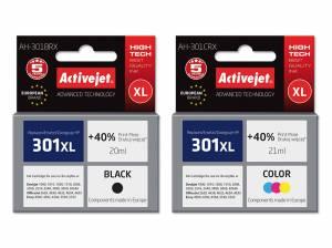 Zestaw Activejet do HP 301 czarny i kolor - 2 tusze XL