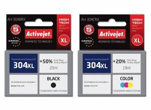 Zestaw Activejet do HP 304 czarny i kolor - 2 tusze XL