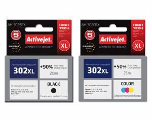 Zestaw Activejet do HP 302 czarny i kolor - 2 tusze XL