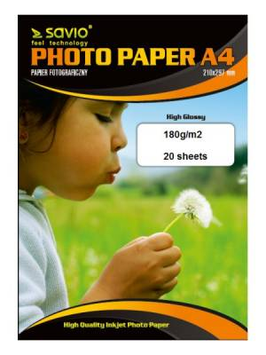 Papier fotograficzny SAVIO PA-07 A4 180/20 błysk