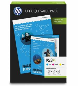 HP oryginalny 3 pack 953XL CMY 1CC21AE + papier