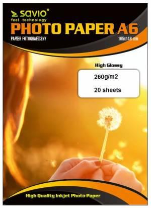 Papier fotograficzny SAVIO PA-17 A6 260/20 błysk