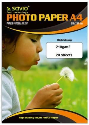 Papier fotograficzny SAVIO PA-08 A4 210/20 blysk