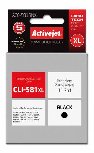 Tusz Activejet ACC-581BNX zamiennik CLI-581Bk XL 11,70 ml czarny