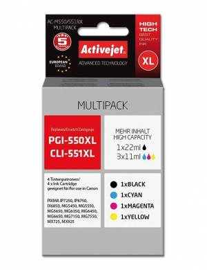 Multipak Activejet do Canon PGI-550Bk CLI-551 XL 4 tusze CMYK