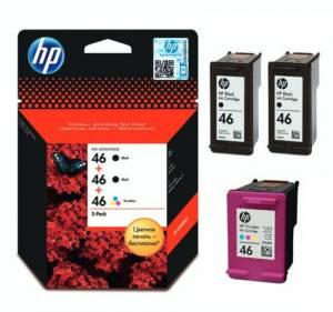 Oryginalny zestaw HP 46 F6T40AE 2x czarny + 1 kolor