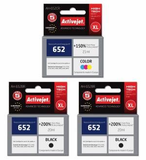 Zestaw tuszów XL Activejet HP 652 - 2x czarny 20ml + kolor 21ml