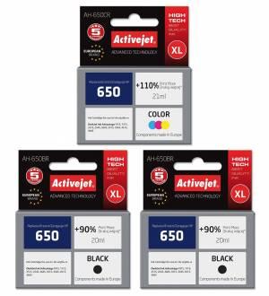 Zestaw 3 tuszów Activejet HP 650 XL 2 czarne + kolor