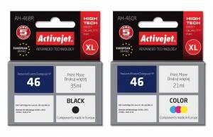 Zestaw Activejet do HP 46 - 2 tusze czarny + kolor XL