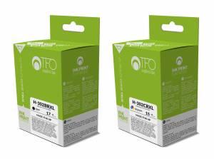 Zestaw TFO do HP 302 - czarny 17ml + kolor 15ml