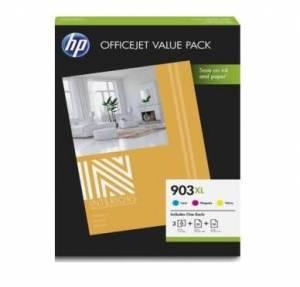 Multipack HP 903XL 3 tusze CMY + papier foto 1CC20AE