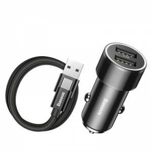 Ładowarka samochodowa + kabel USB-C Baseus Small Screw 2xUSB 3.4A czarna