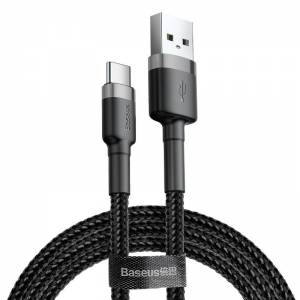 Kabel USB-C Baseus Cafule 3A 0.5m szaro-czarny